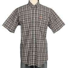 Men's Cinch Grey Plaid SS Button Down Shirt, MTW1112014