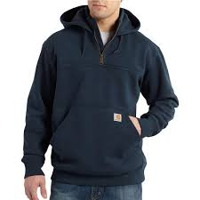 Men's Carhartt Navy Paxton Heavyweight Hooded Zip Mock Sweatshirt, 100617 472