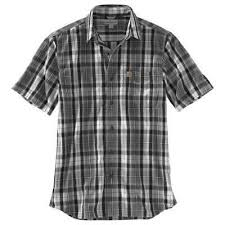 Men's Carhartt Black Plaid SS Shirt, 103004 039