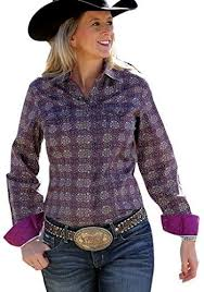 Women's Cinch Purple / Grey Weave LS Button Down Shirt, MSW9200012