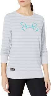 Women's Under Armour White Striped Threadborne Shoreline Crew, 1304869 100