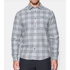 Men's Under Armour Grey Plaid Tradesman Lightweight Flannel, 1297265 035