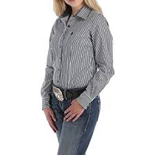 Women's Cinch Blue Stripe LS Button Down Shirt, MSW9164075