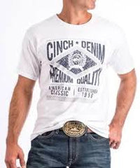 Men's Cinch White SS Graphic T-Shirt, MTT1690304