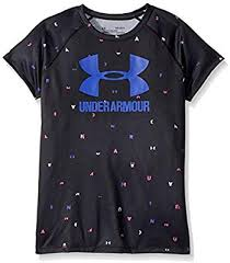 Girl's Under Armour Black Logo SS T-Shirt, 1299323 005