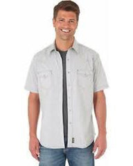 Men's Wrangler Grey Retro SS Western Shirt, MVR363M
