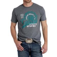 Men's Cinch Grey / Blue Graphic SS T-Shirt, MTT1690292