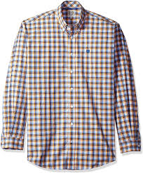 Men's Cinch Yellow / Blue Plaid Button Down Shirt, MTW1104374