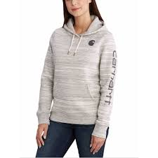 Women's Carhartt Grey Heather Clarksburg Graphic Sleeve Hoodie, 102791 099