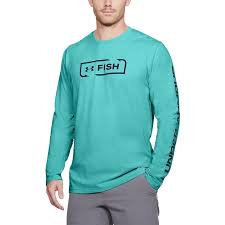 Men's Under Armour Teal / Navy Fish Icon LS Shirt, 1322940 425