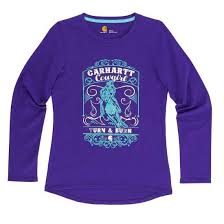 Girl's Carhartt Purple Turn and Burn Cowgirl LS T-Shirt, CA9549 L106