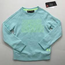 Girl's Under Armour Aqua / Lime Green Loose Fit Crew Sweatshirt, 1308363 943