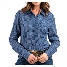 Women's Cinch Navy Print Western Shirt, MSW9164079