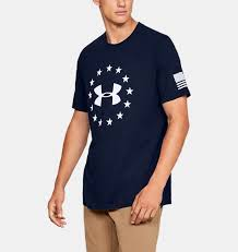Men's Under Armour Navy Blue / White Freedom Logo T-Shirt, 1333351 408