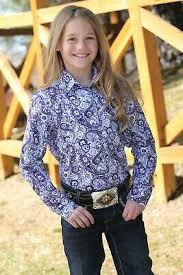 Girl's Cruel Girl Purple Paisley LS Button Down Shirt, CTW3220009