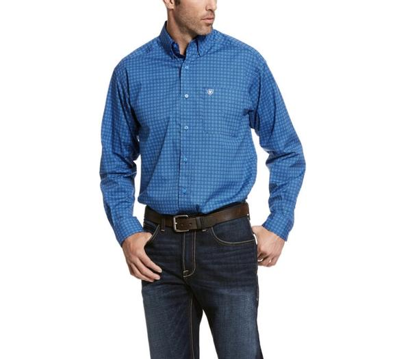 Men's Ariat Campanula Blue Trennor LS Shirt, 10028022