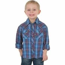 Boy's Wrangler Blue / Purple Plaid LS Button Down Shirt, BVG072A