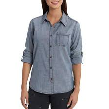 Women's Carhartt Denim Dodson Chambray LS Shirt, 102778 431