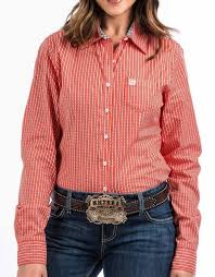 Women's Cinch Orange LS Button Down Shirt, MSW9164077