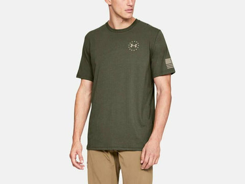 Men's Under Armour Marine OD Green / Desert Sand Freedom Flag T-Shirt, 1333350 390