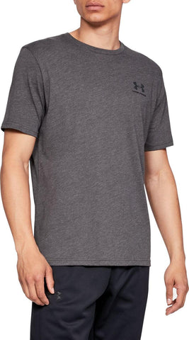 Men's Under Armour Charcoal Grey Sportstyle Left Chest SS T-Shirt, 1326799 019