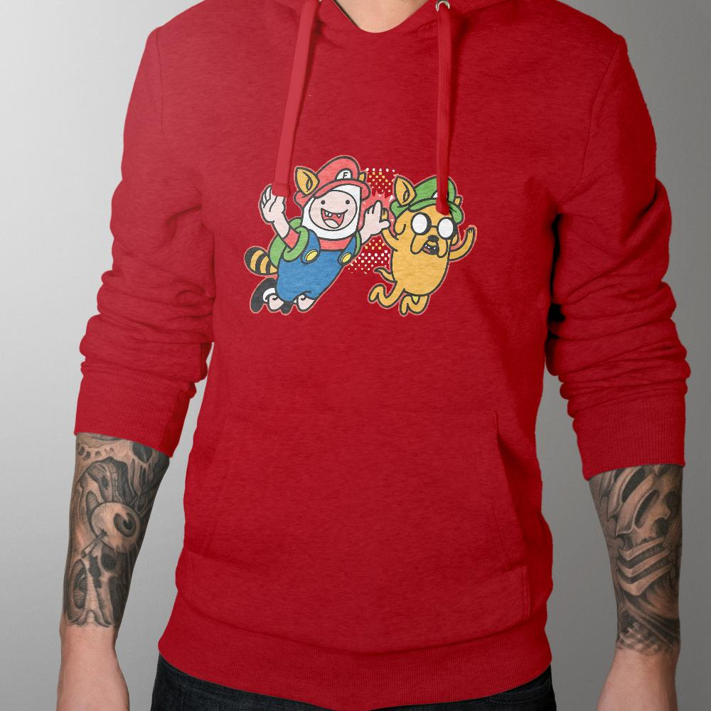 Mens Hoodies - Adventure Time Mario Mash Up Hoodie