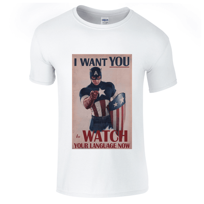 Captain America Watch Your Language T-Shirt-Hero Gear