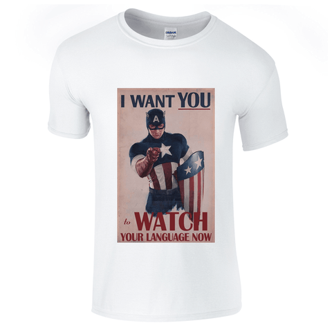 Mens T-Shirts - Captain America Watch Your Language T-Shirt
