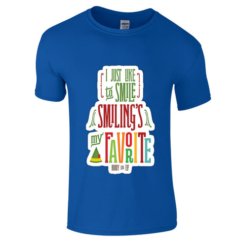 Mens T-Shirts - Elf Smiling Is My Favourite Christmas T-Shirt