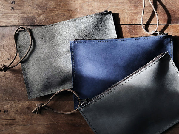 Buffed Leather Clutch Pouches