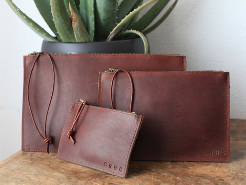 Leather Clutch Pouch in Dark Brown