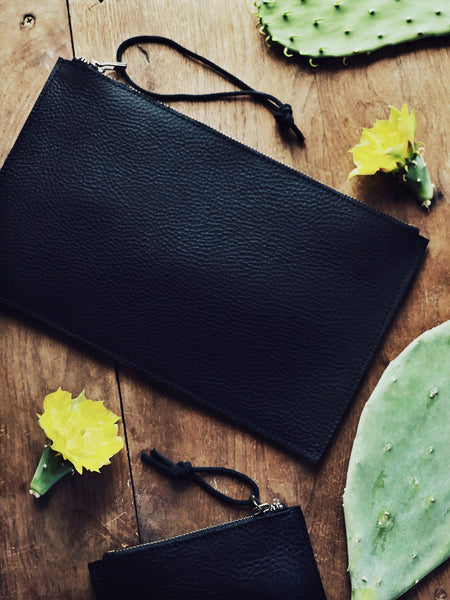 Black Leather Clutch Pouches