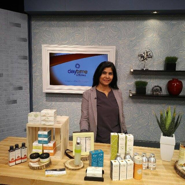 Seema Kudesia at Rogers DayTime TV presenting Kalp skin care and crating awareness about Ayurveda in Canada