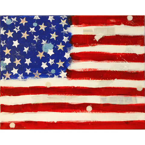 Fabiano Amin American Flag Abstract Oil Painting