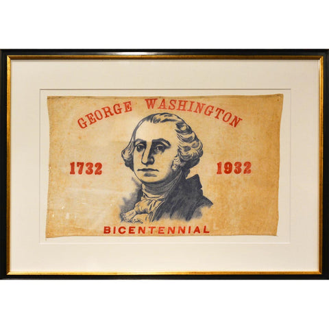 George Washington antique bi-centennial flag framed DC