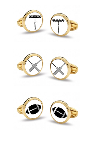 Custom Cufflinks | Wine Cork Screw | Cricket Bat | Football