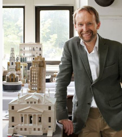 Model maker, Timothy Richards at his workshop in Bath, England