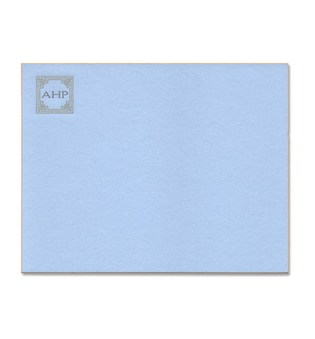 Correspondence Card | Light Blue with Gold | Art Deco