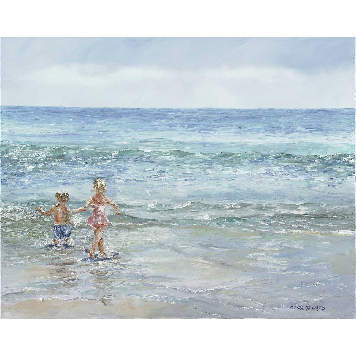 summer beach kids playing in the ocean painting
