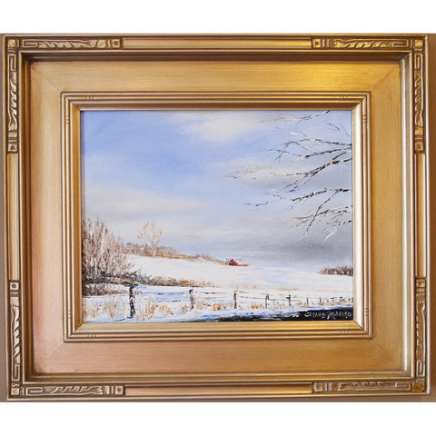 claire howard oil painting winter snow country barn