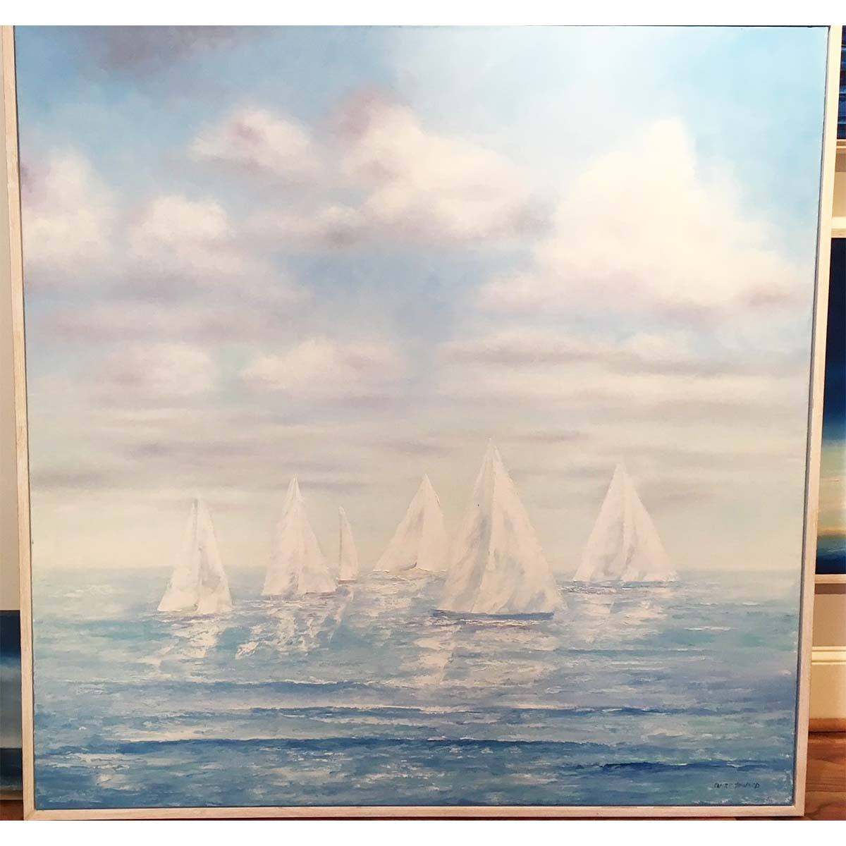 sailboats on a lake in summer oil painting by claire howard