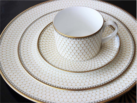 halcyon days place setting ivory gold trellis