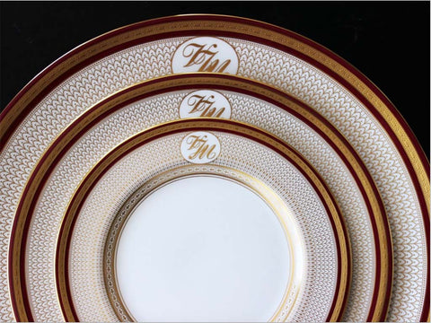 fancy plates wedding corporate event monogram halcyon days bone china