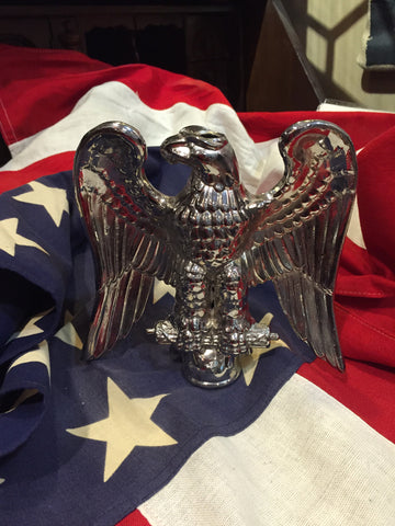 "Patriotic Antique American Flag Eagle | Silver Plated Flag Topper | 7 "" US Eagle 