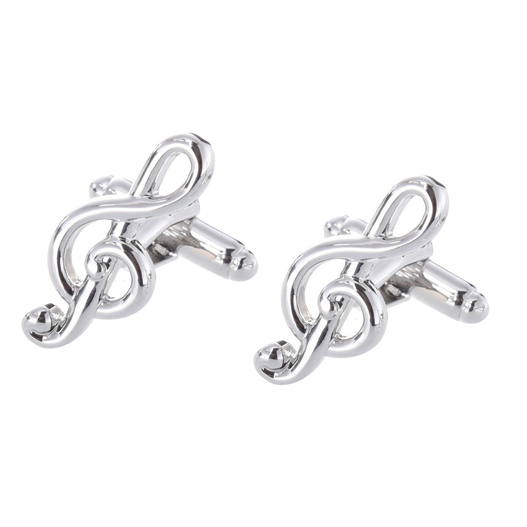 Large Treble Clef Cufflinks | Silver | Sterling and Burke-Cufflinks-Sterling-and-Burke