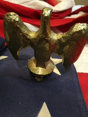 Patriotic Antique Gold Plated Flag Eagle Business Gift-Antique Artifact-Sterling-and-Burke