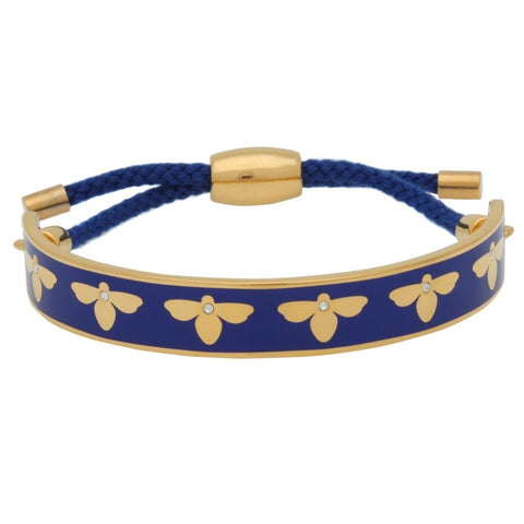Halcyon Days 1cm Bee Sparkle Friendship Enamel Bangle in Deep Cobalt and Gold