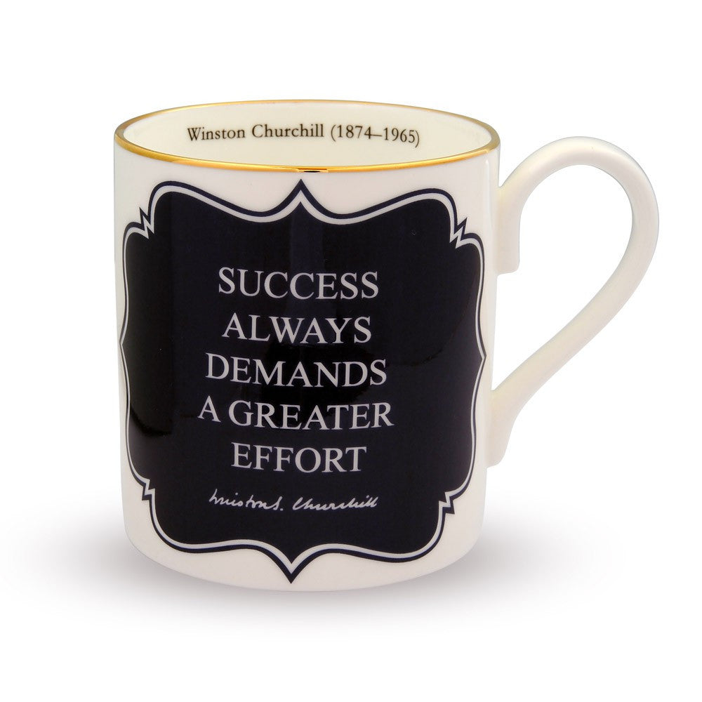 Halcyon Days Success Always Demands... Churchill Mug in Navy-Mug-Sterling-and-Burke