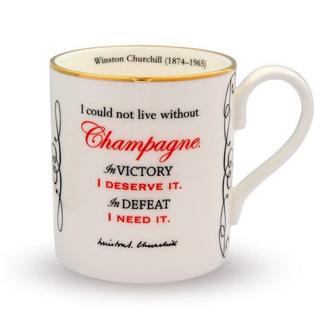 Fine English Bone China | I Could Not Live Without Champagne... Mug | Halcyon Days | Made in England-Mug-Sterling-and-Burke