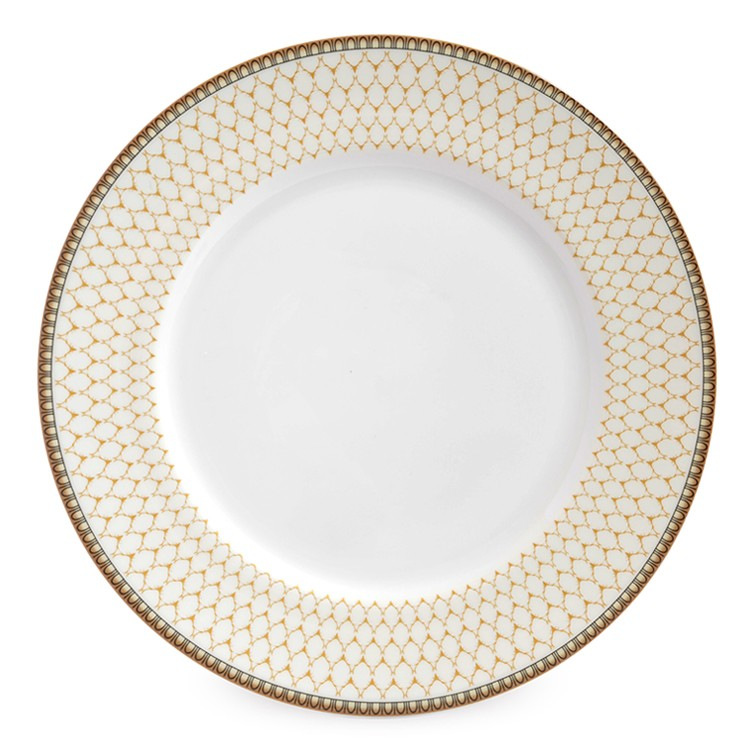 "Halcyon Days Antler Trellis 8"" Plate in Ivory-Bone China-Sterling-and-Burke"